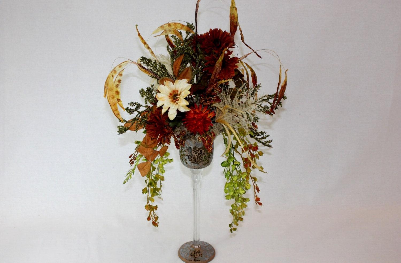 Dining room decor silk flower arrangement by patiquefloral for Dining room flower arrangements