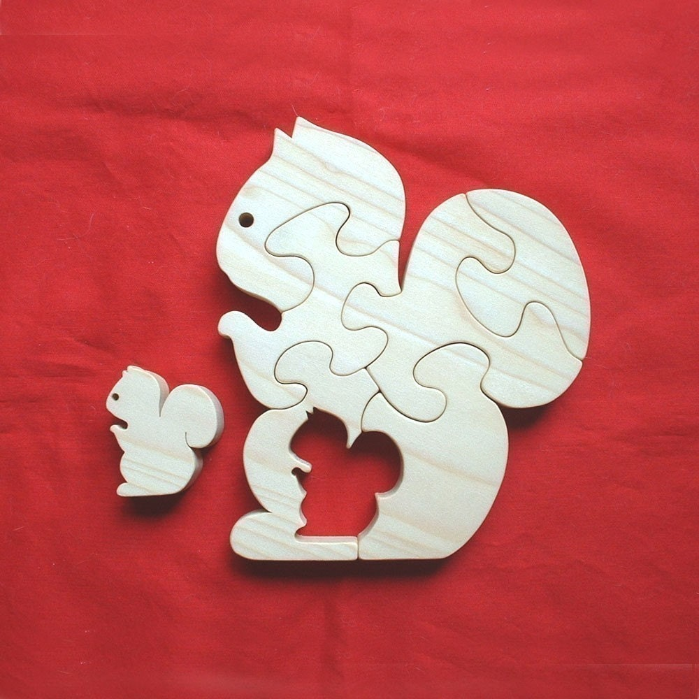 Squirrel with Baby - Childrens Wood Puzzle Game - New Toy - Hand Made - Child Safe