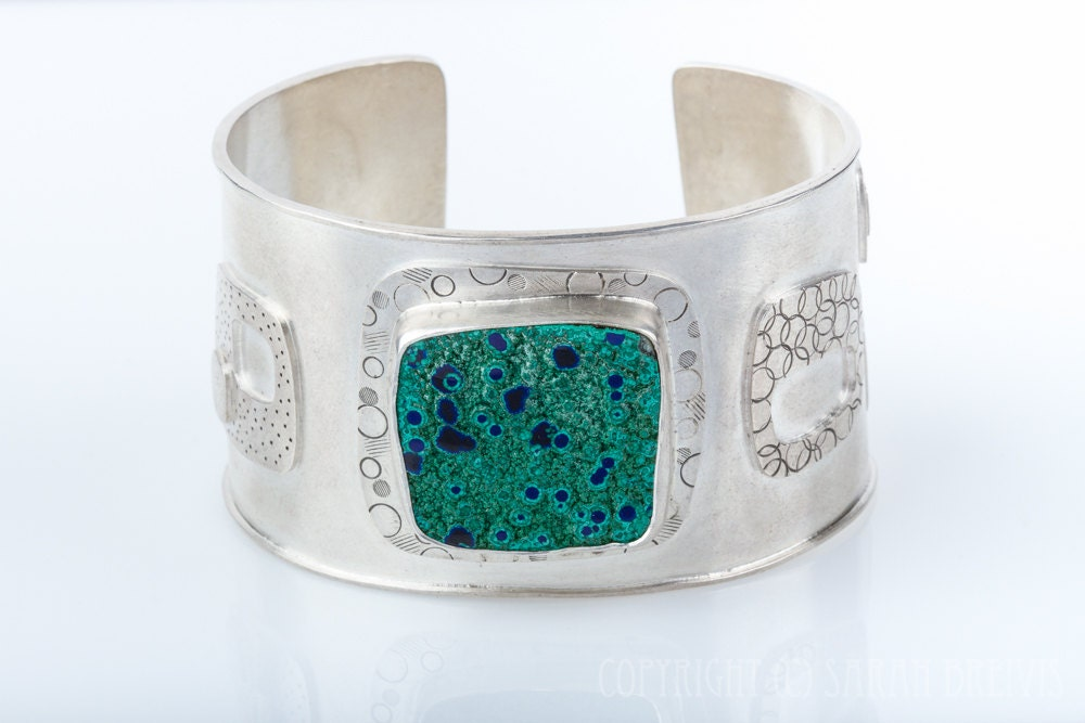 Malachite and Azurite Cuff bracelet, statement piece, large bracelet, sterling silver, modern squares, blue , green, dots - JujuBySarah