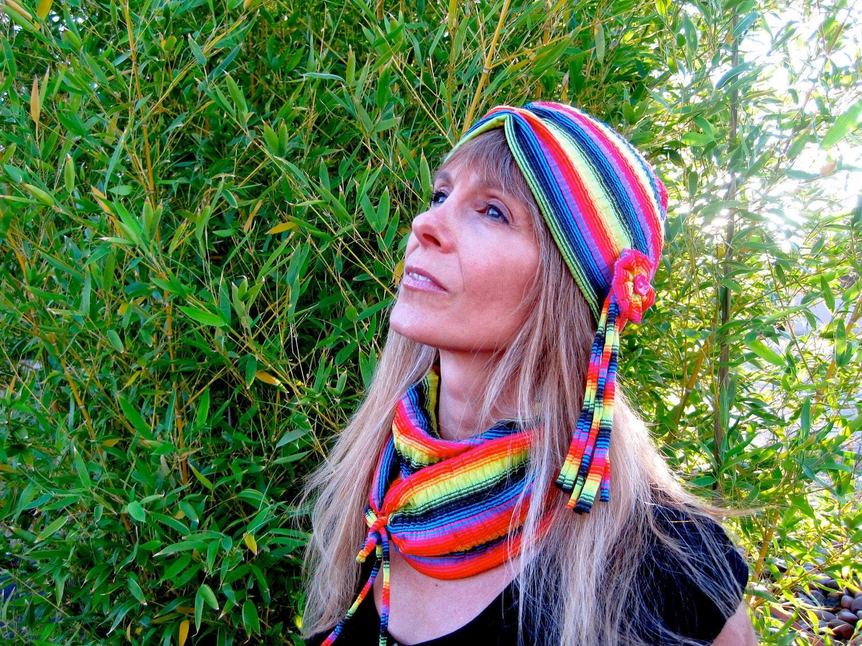 Rainbow Neon Stripe Turban Cap - Size ML - 1000PeaksandPetals