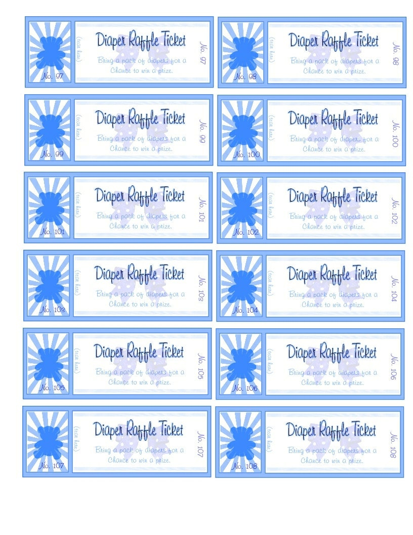 Numbered Blue Teddy Diaper Raffle Tickets Digital File by tochess