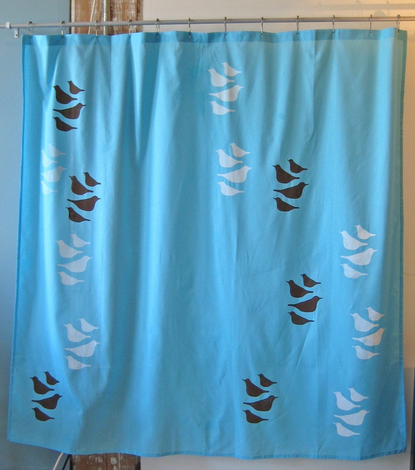 CLEARANCE Last ONE Blue Shower Curtain with Robin by appetitehome