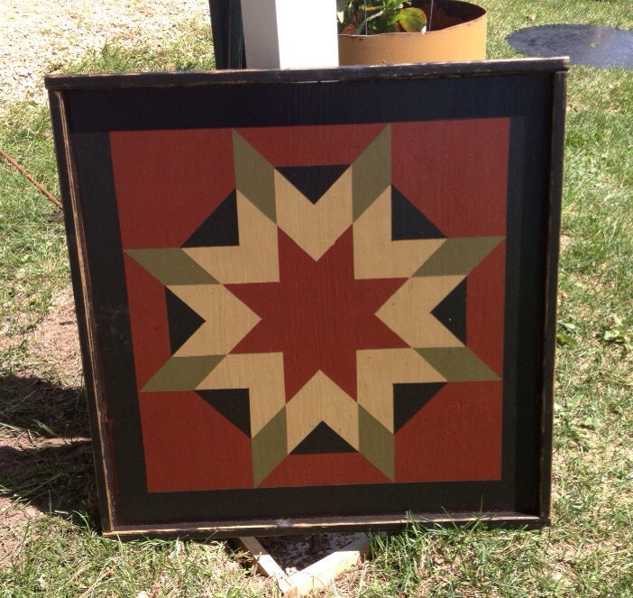 Primitive Hand Painted Barn Quilt Framed 2 X 2 By Crowcorner