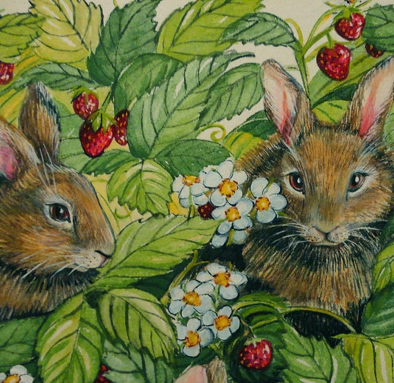 Original Painting Bunnies Love Strawberries