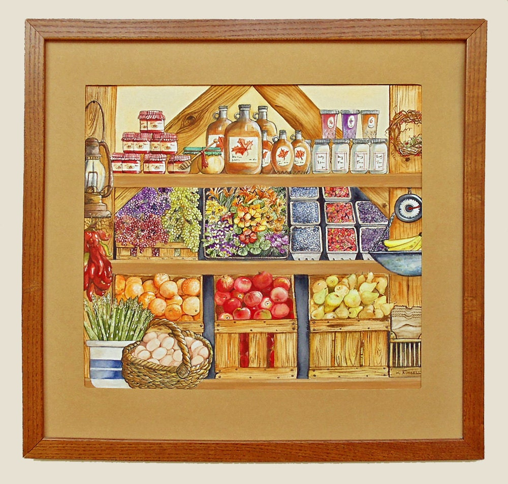 Original Detailed Watercolor Painting Fall Farm Stand