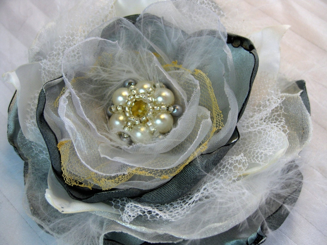 fabric flower hair clip brooch with pearly beads