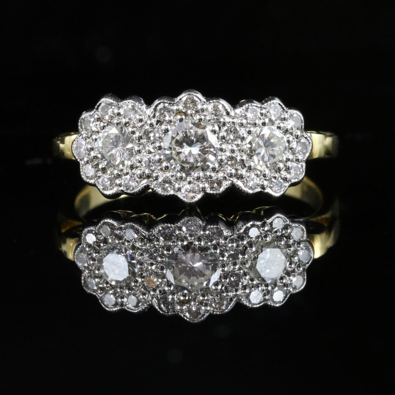 Antique Edwardian Diamond Trilogy Cluster Ring 0.80ct