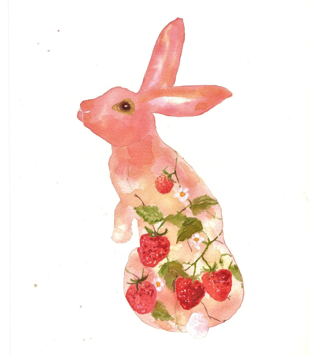BUNNY Art - Strawberry Fields Bunny Fine Art Print - 8x10 - BUY today SHIP today