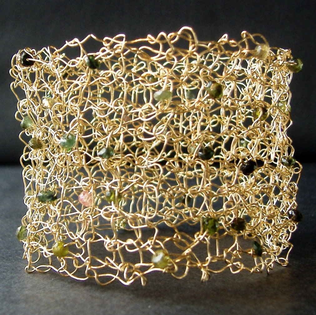 14 Karat Gold Fill knit cuff with Tourmaline