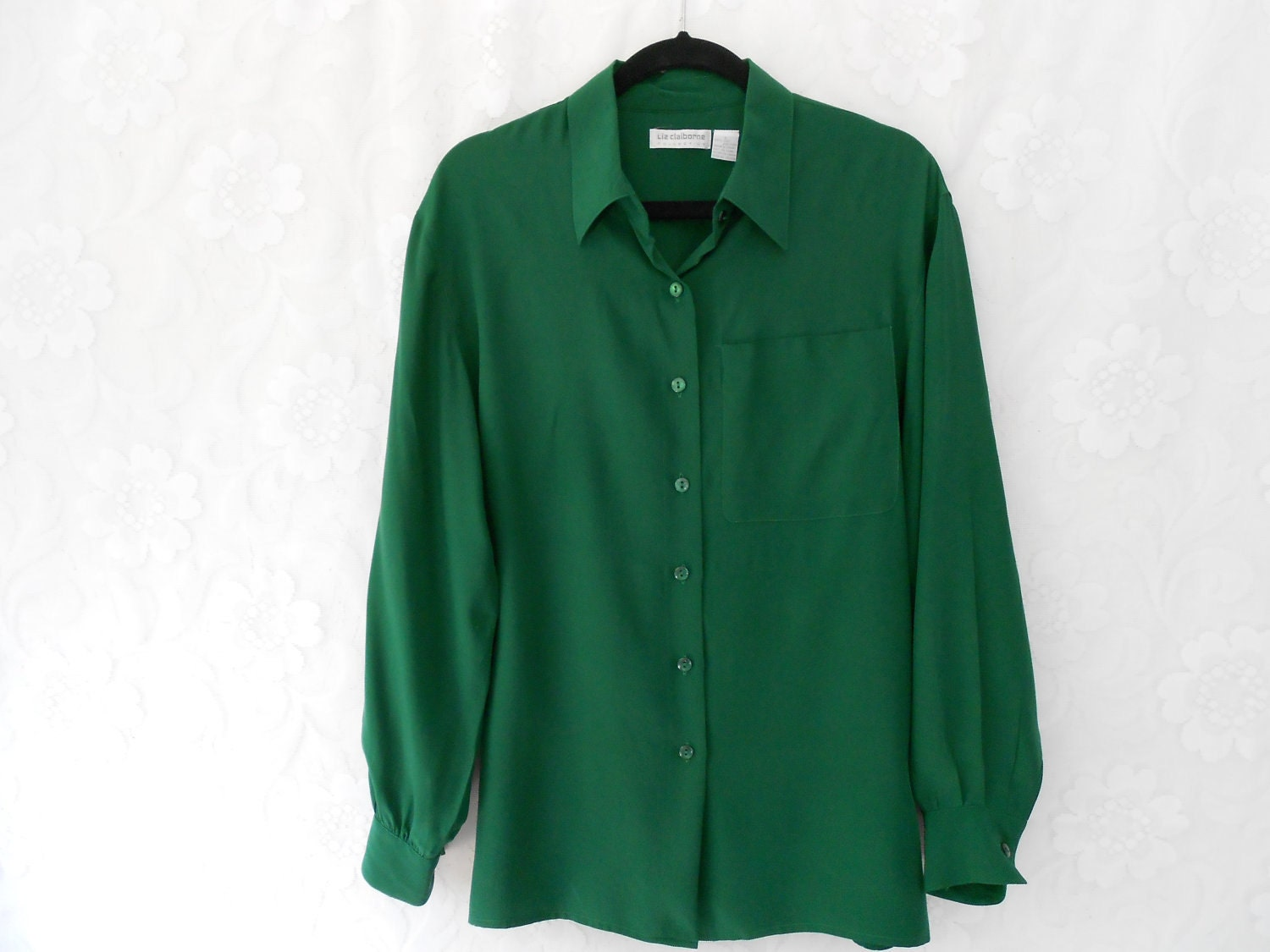 Womens Green Silk Blouse 116