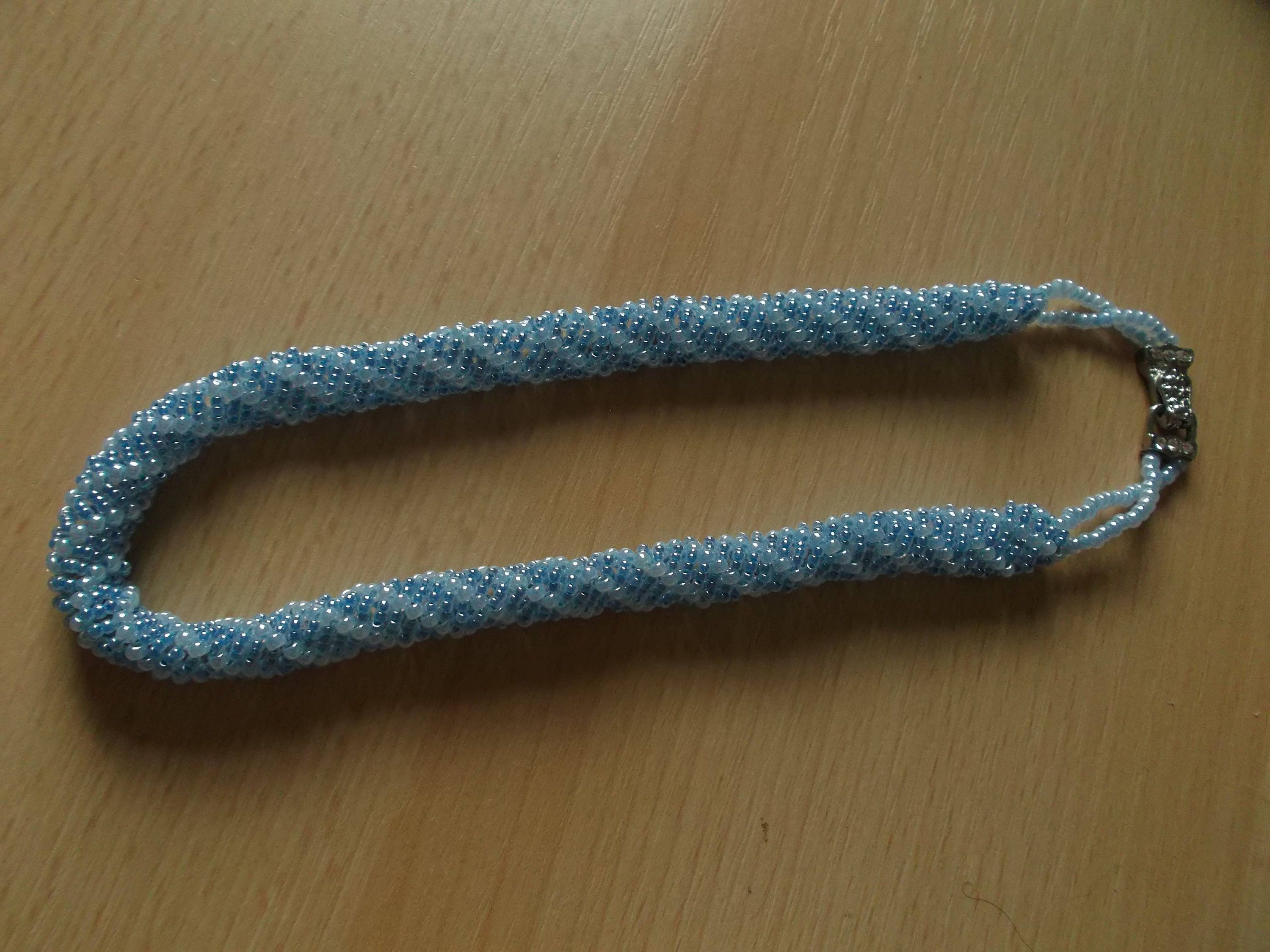 Cornflower blue seed bead rope necklace with jeweled magnetic clasp