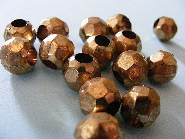 Vintage Antique Gold Faceted Bead Lot 12 MM