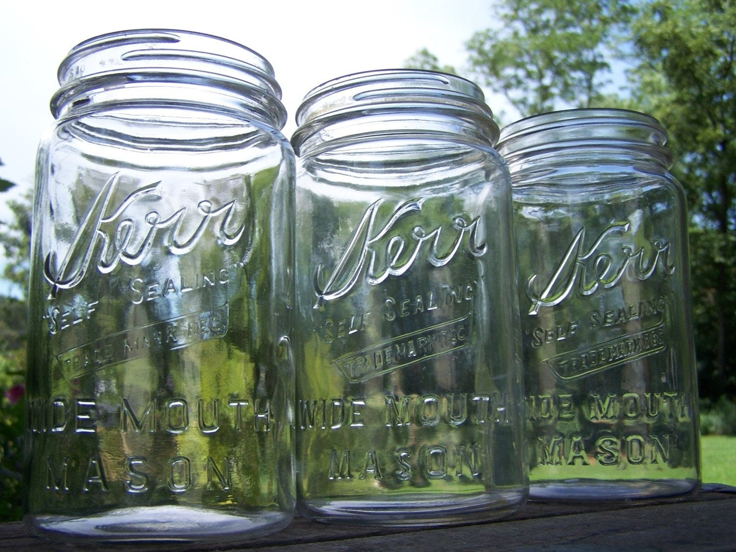 Vintage - Wide Mouth Mason Jars - Set of 3