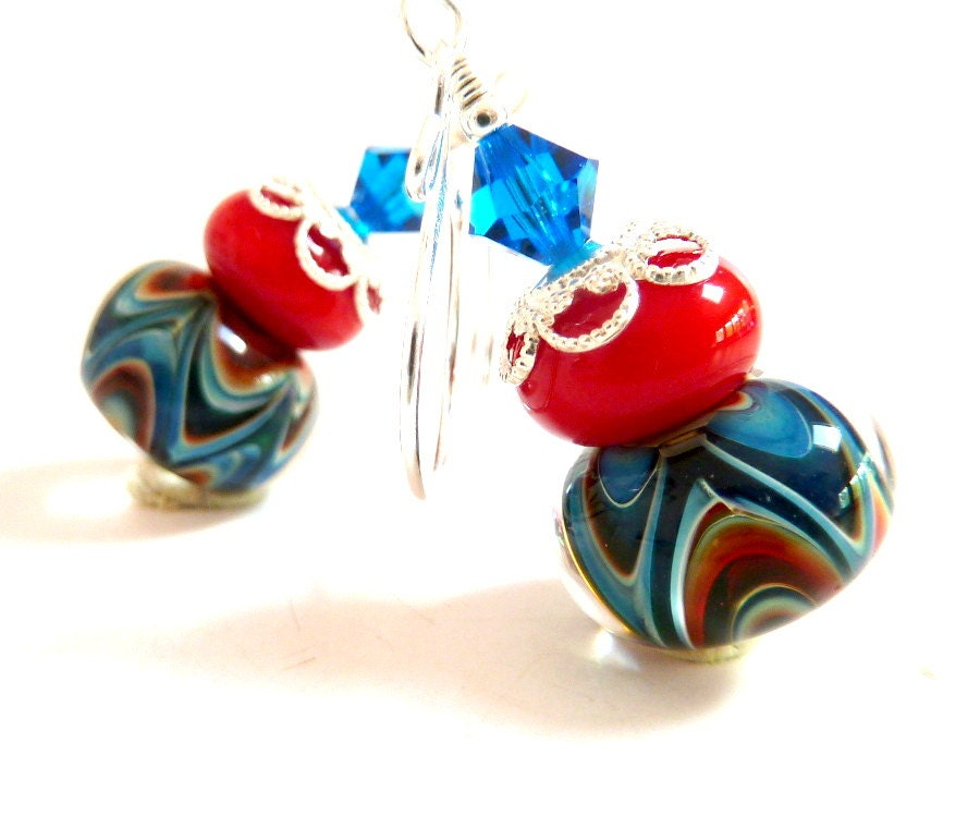 Blue Wave Earrings, Red Turquoise Aqua Blue Glass Beaded Earrings, Sterling Silver, Handmade Lampwork Earrings, Colorful - Elegencebyelaine