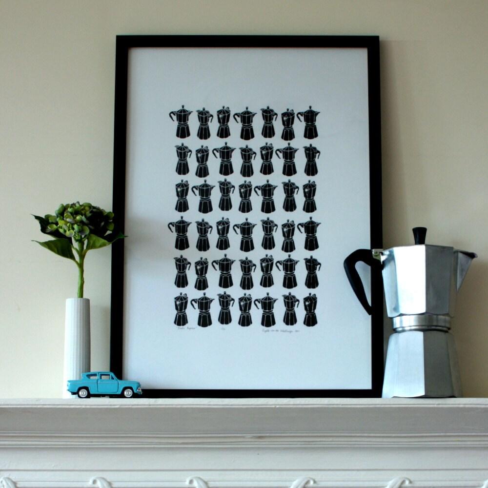Charcoal Moka Express silkscreen print - A2 size - edition of 50
