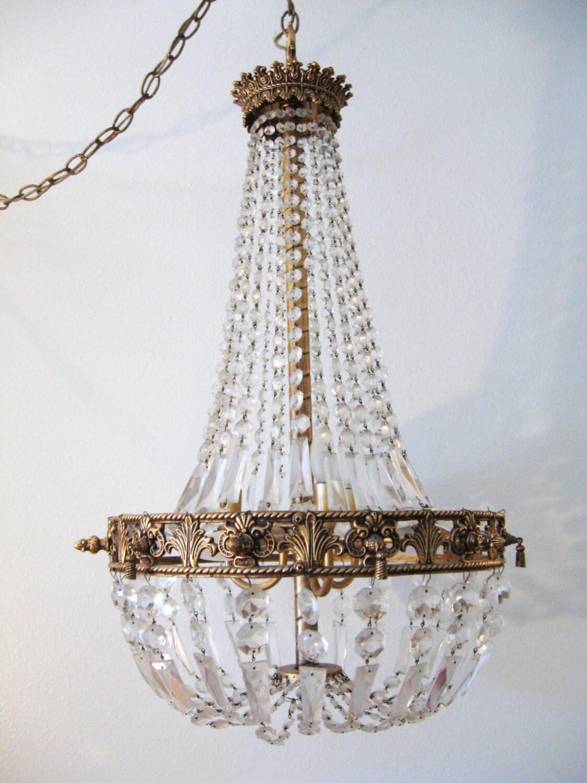 Art Deco Hollywood Regency Crystal Chandelier By Fabulousmess