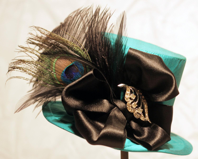 Green Silk Steampunk/Victorian Mini Top Hat.
