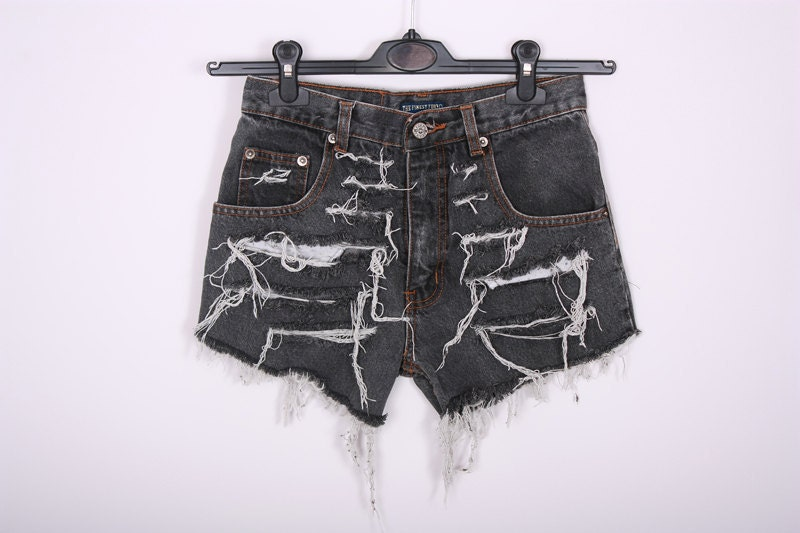 GRUNGE Vintage 90s Shorts Destroyed DIY Cut Off Jeans High Waisted Denim M - SORUTHLESS