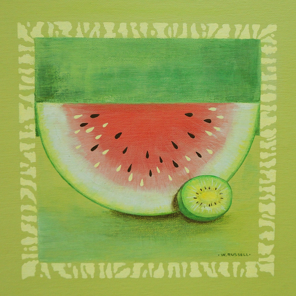 Framed Original Painting Watermelon Meets Kiwi