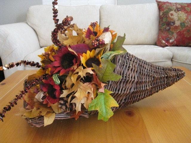 Падение цветочная композиция - Centerpiece Осень Рог изобилия - День благодарения Centerpiece