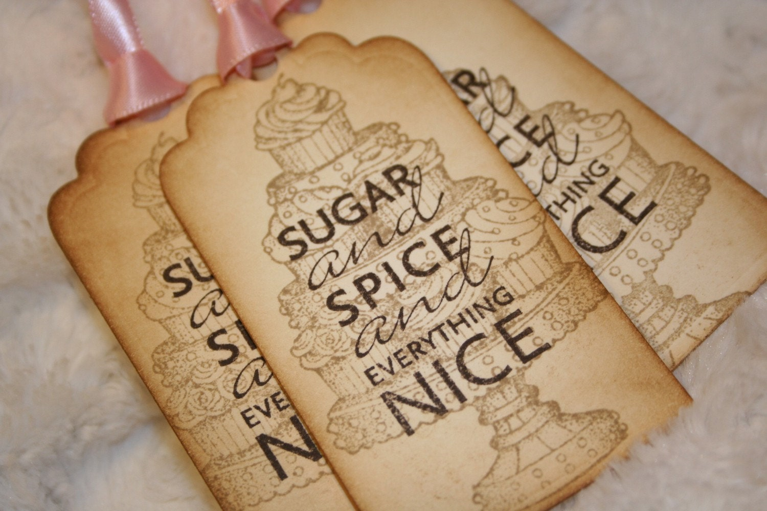 Sugar and Spice Girlie Tags - set of 5