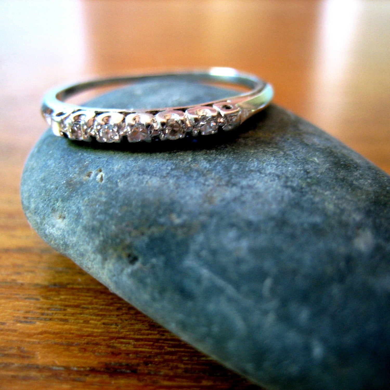 Circa 1920 Five Diamond Platinum Wedding Ring