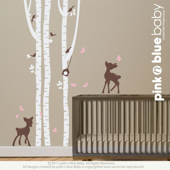 Wall decals birch trees with fawns nursery by pinknbluebaby for Birch tree mural nursery