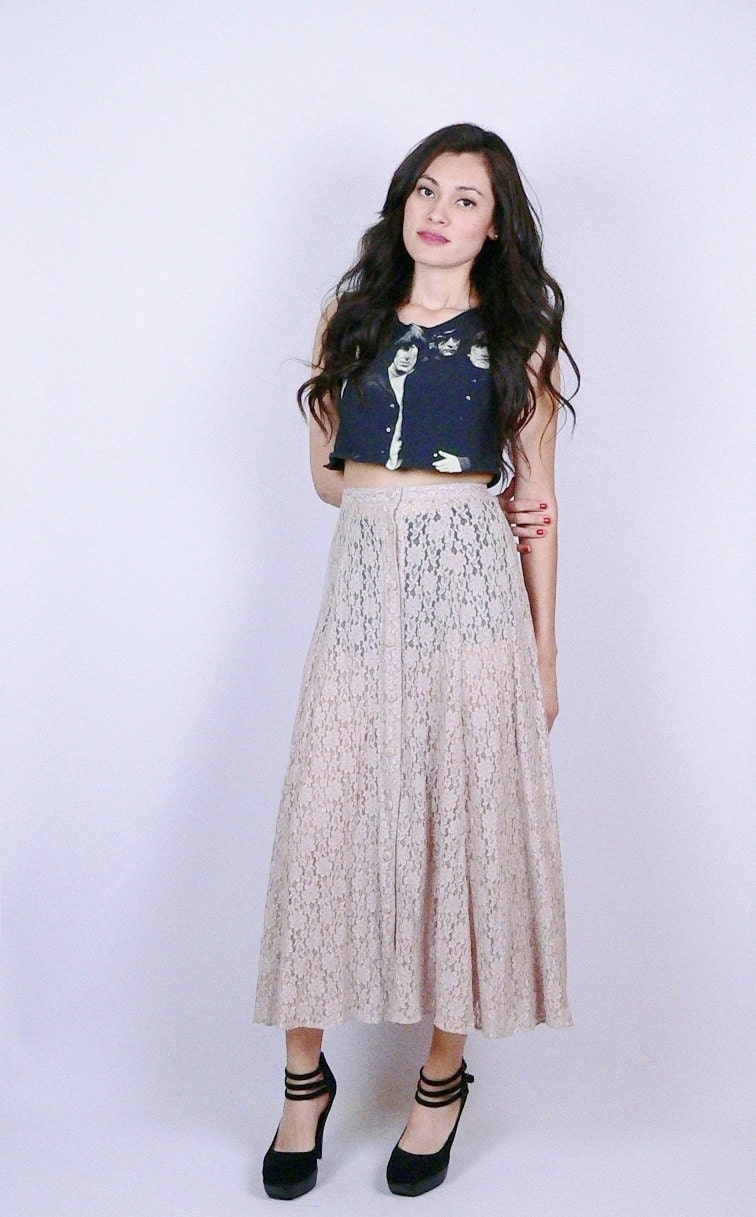 sheer high waisted lace skirt boho hippie by