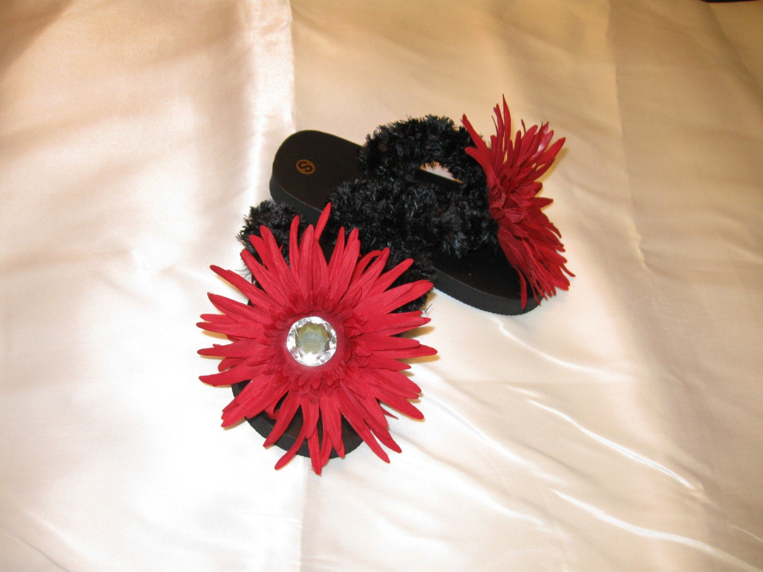 Scarlett and Black Daisy Bling Crochet Flip Flops