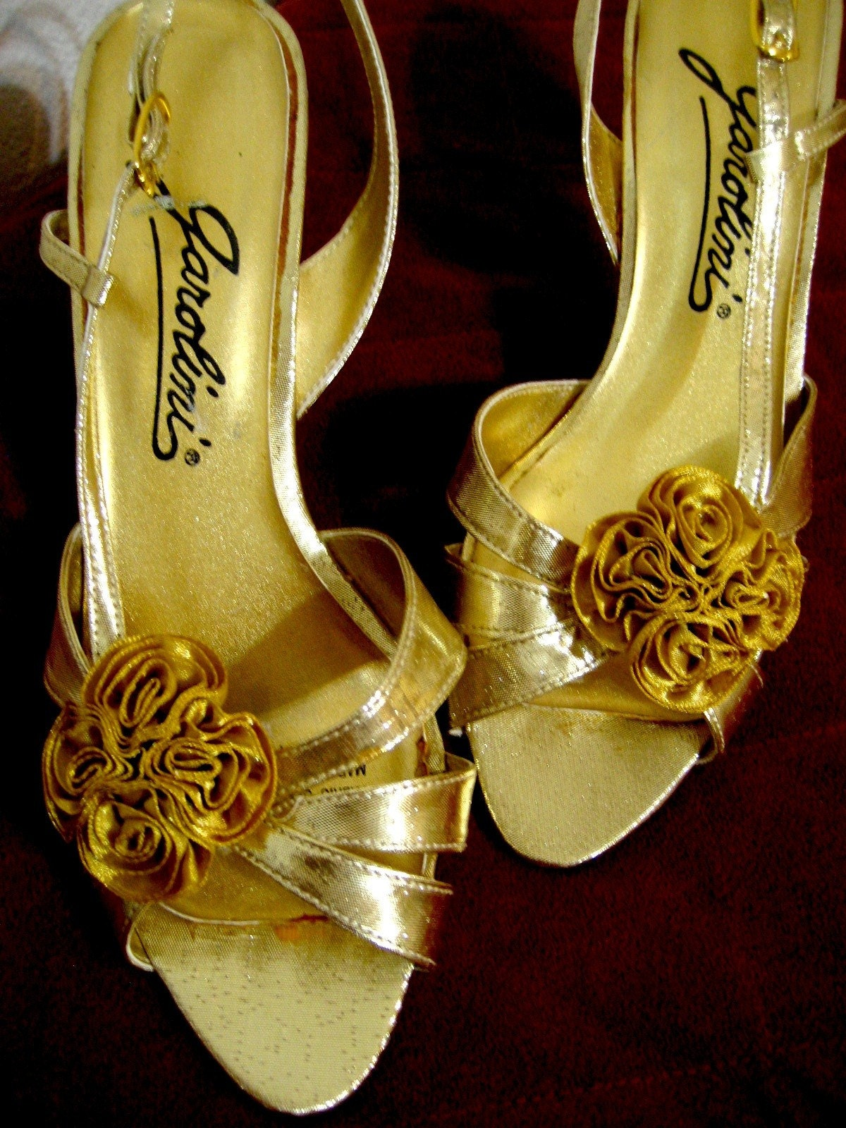 Vintage Gold Rosette Heels - Bridal or Formal