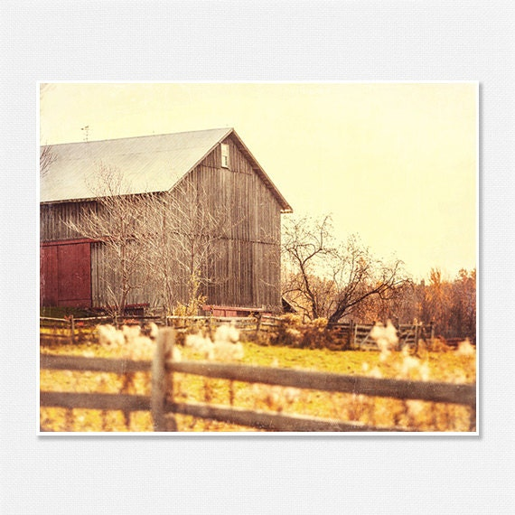 Farm Picture Barn Picture Autumn Landscape Old Barn - 8x10 - Rustic Fall Gold Yellow Brown Sepia - Country Home Decor Farm Art Barn Art. - LisaRussoFineArt