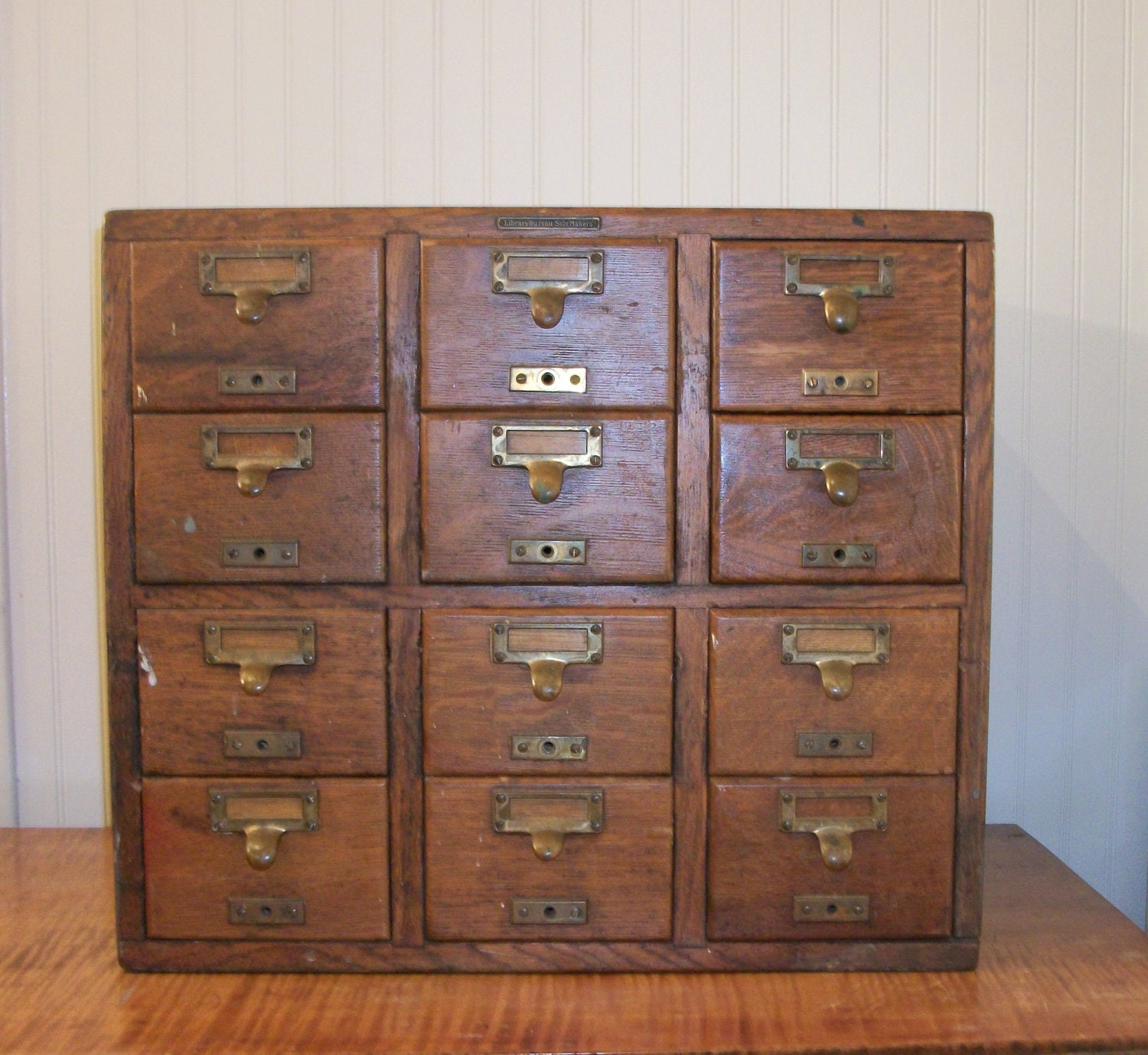 Antique 12 Drawer Oak Library Card Catalog Library by