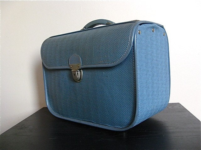 Vintage Blue Amelia Earhart Small Suitcase.