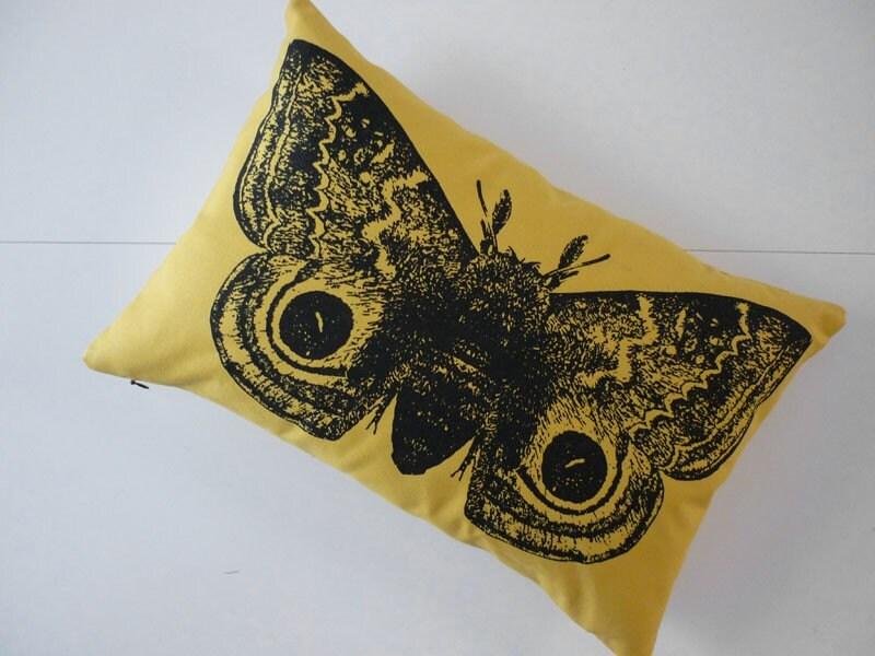 Giant IO Moth silk screened cotton throw pillow 18x12 yellow black