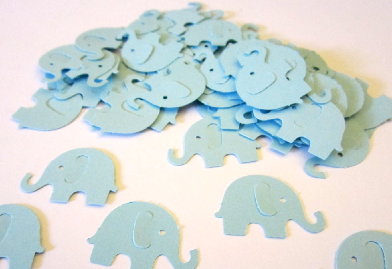 60 Pastel Light Blue Elephant Paper Piecing Embellishments Scrapbooking Confetti Cutouts