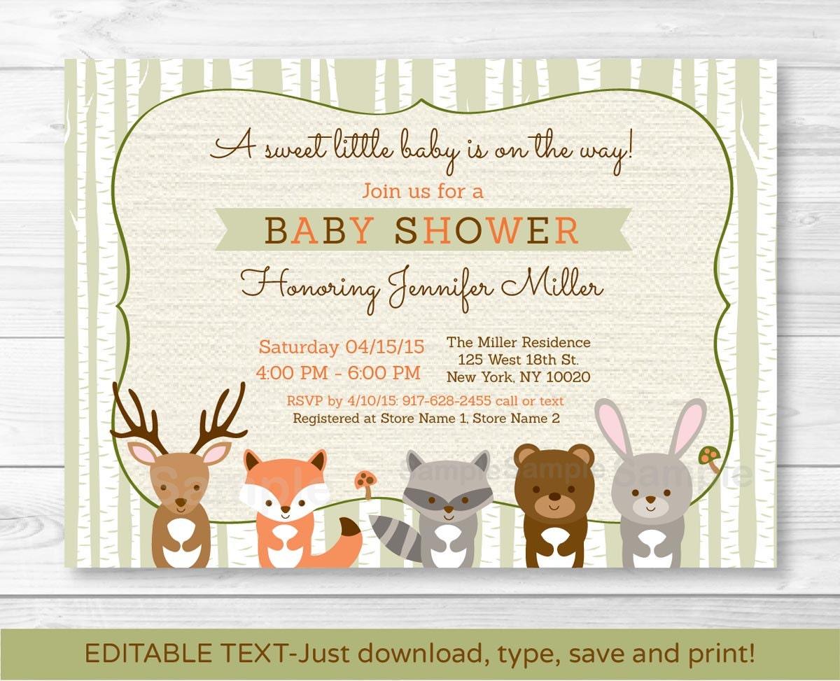 Woodland baby shower invitations templates woodland baby shower invitation forest animals birch tree fox filmwisefo