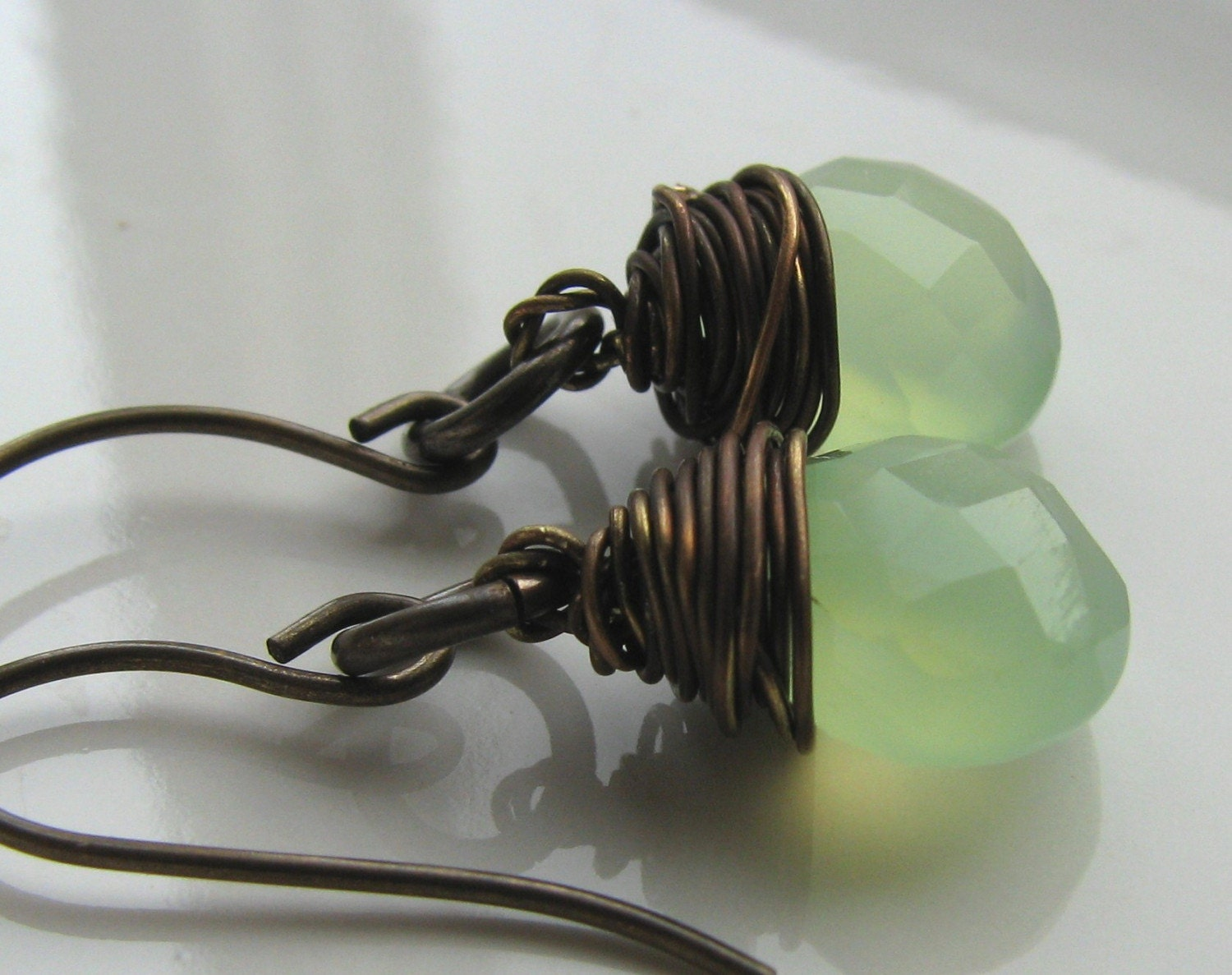 Burnt Honeydew Chalcedony Earrings