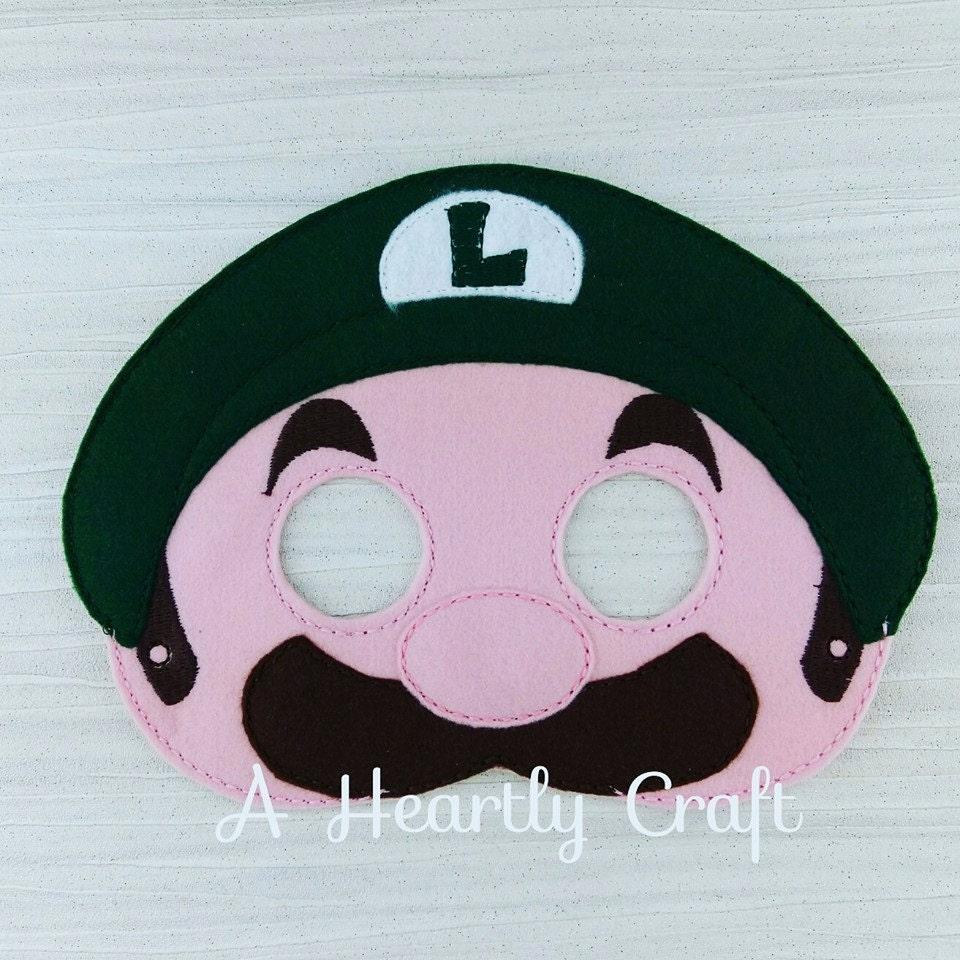 Luigi  Super Mario Brothers Smash Bros  Super Mario Birthday  Felt Dress Up Mask  Halloween Mask
