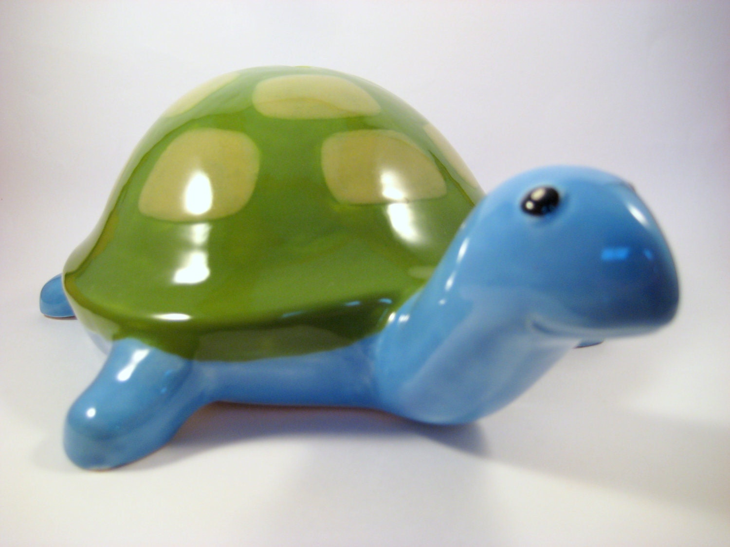 Vintage Large Ceramic Turtle Coin Bank Blue And Green By Modclay