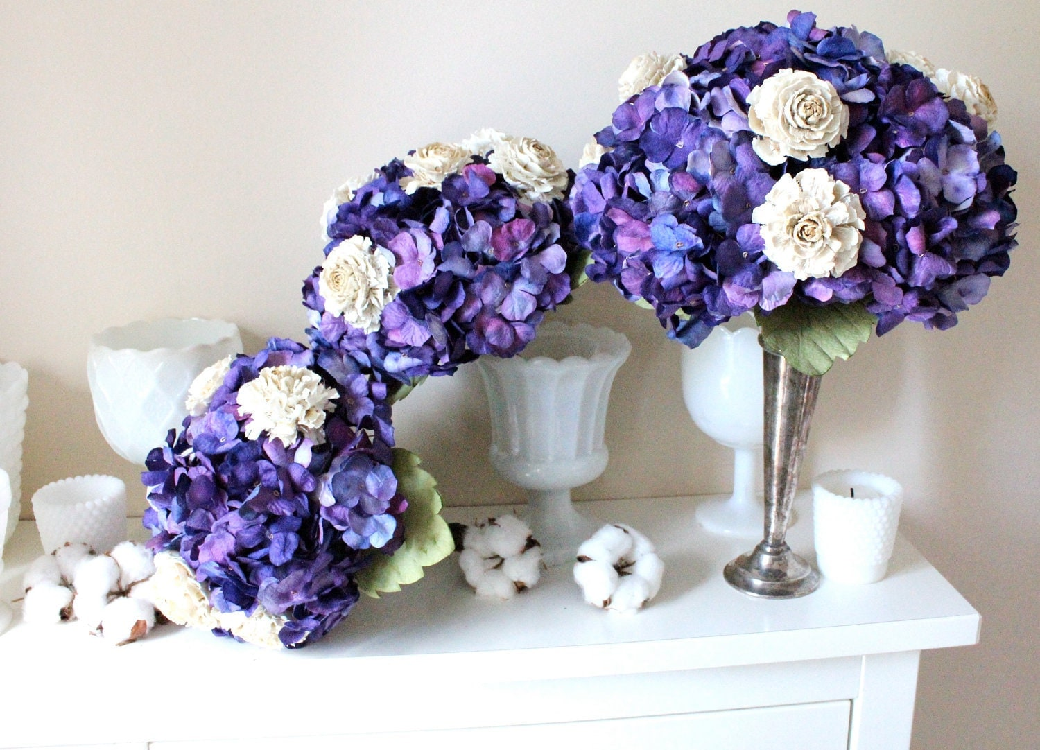 Purple wedding bouquet, purple bouquet of paper Hydrangea and wood roses tied with vine wire - AlternativeBlooms