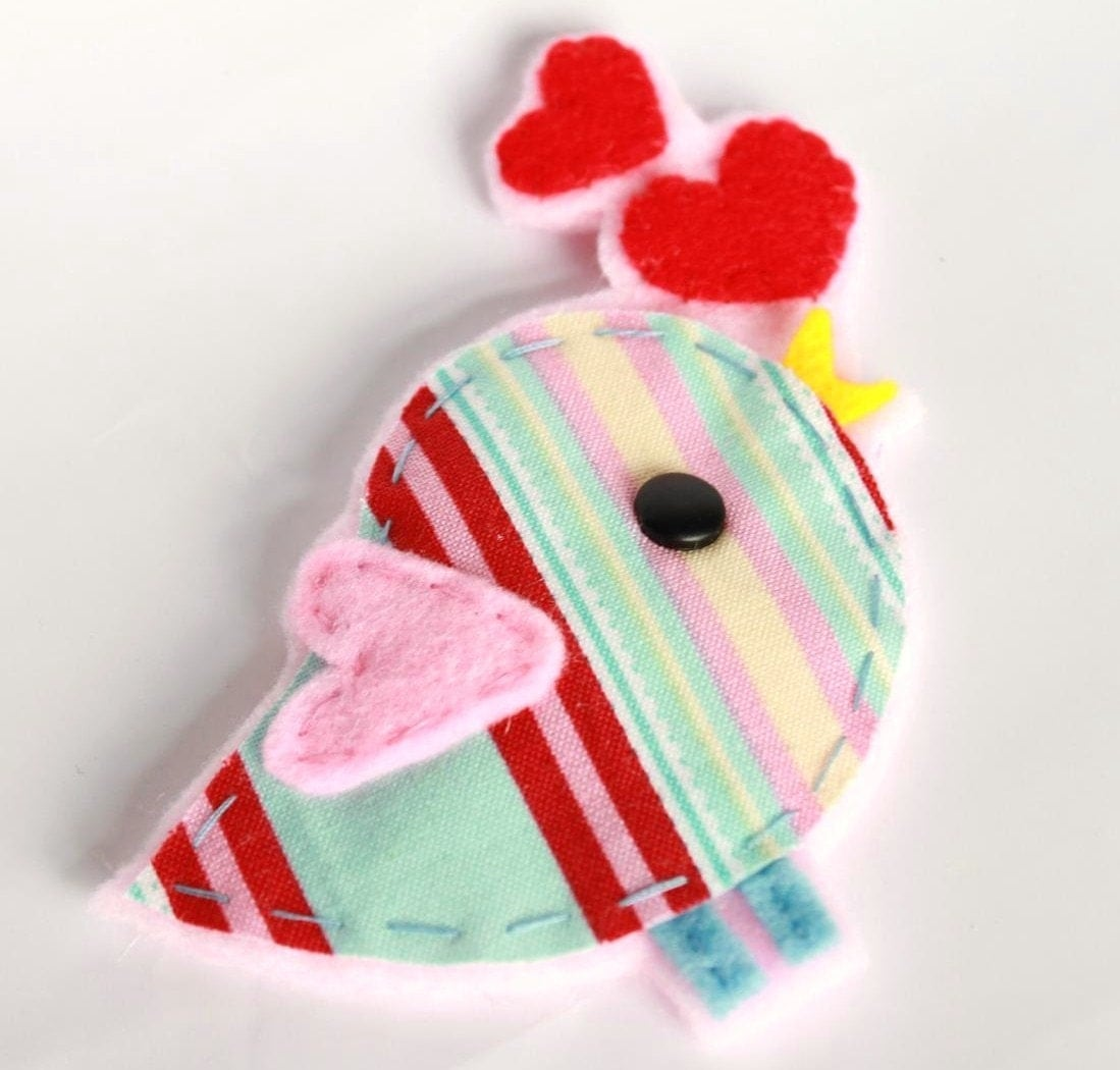 Stripe Tweetie Felt Plush Hair Clip