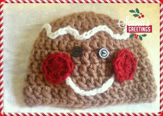 Free Crochet Pattern For Gingerbread Man Hat : Items similar to Crochet Gingerbread Man Hat, Christmas ...