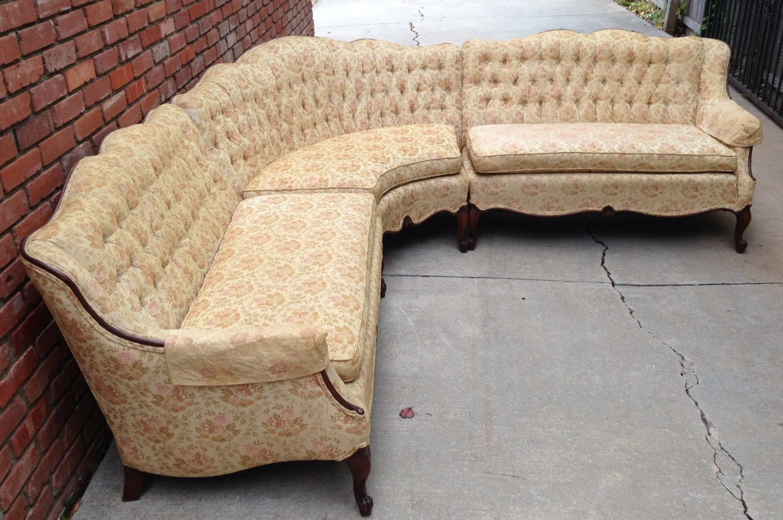 Rare French Provincial Sectional Sofa Tufted By