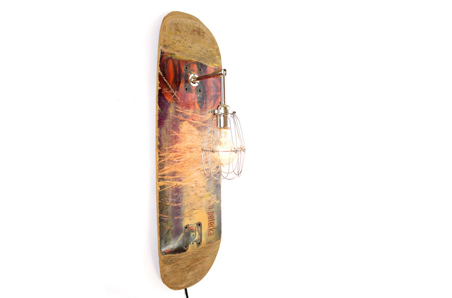 Recycled Skateboard Lamp Reclaimed Wall Sconce By