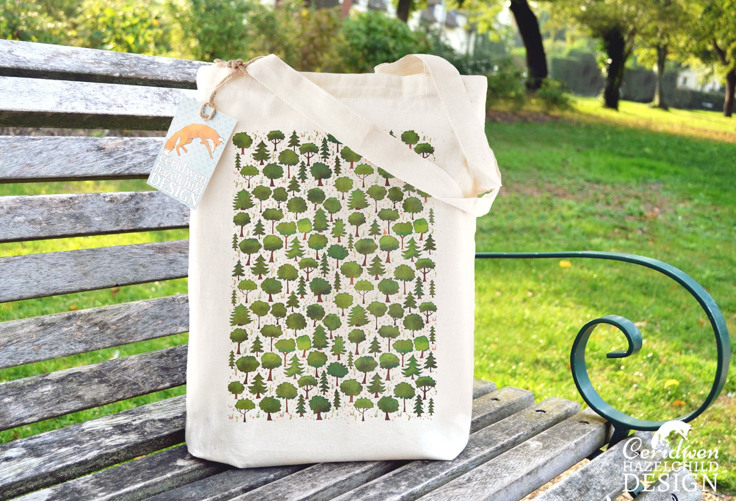 Woodland Trees Tote Bag Reusable Shopper Bag Cotton Tote Ethically Produced Shopping Bag Eco Tote Bag