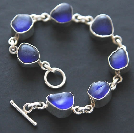 Genuine Sea Glass - Beachcombed Cobalt Blue Sterling Silver Bezel Bracelet