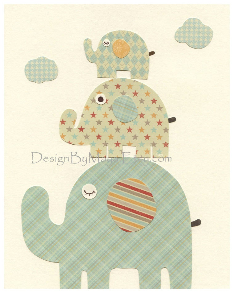 Nursery Wall Art Print Baby Boy Room Baby Elephant Orange Tan And
