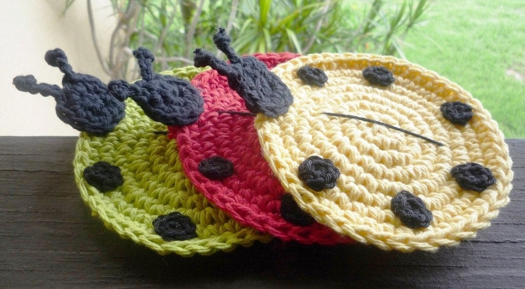 Crochet Ladybug Coasters - pick your six