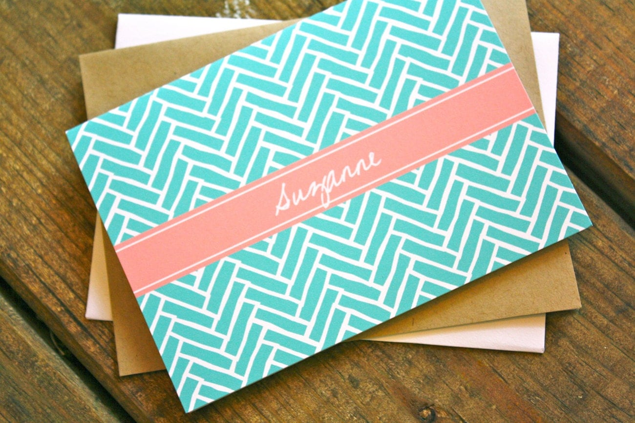 Herringbone Personalized Stationery - Personalized Stationary Set of 12