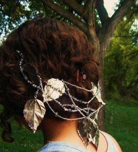 Silver Leaf Bridal Headpiece with free shipping